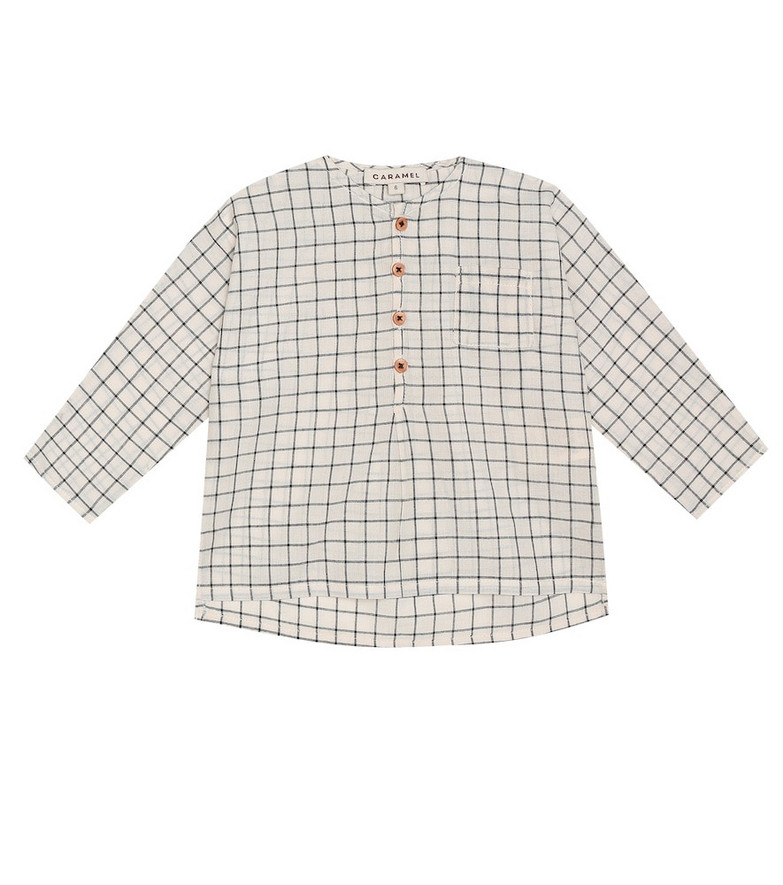 Caramel Baby Pimlico checked cotton shirt in beige