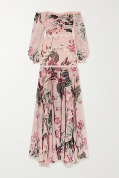 PatBO - Carolina Off-the-shoulder Crochet-trimmed Floral-print Chiffon Maxi Dress - Pink