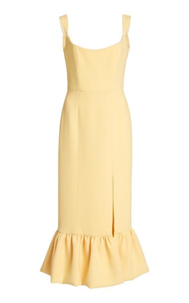 Markarian Flared-Hem Wool Cady Midi Dress in yellow