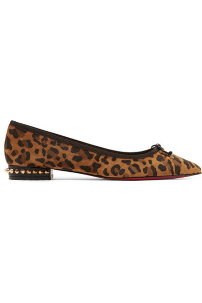 Christian Louboutin - Hall Spiked Leopard-print Suede Point-toe Flats - Leopard print
