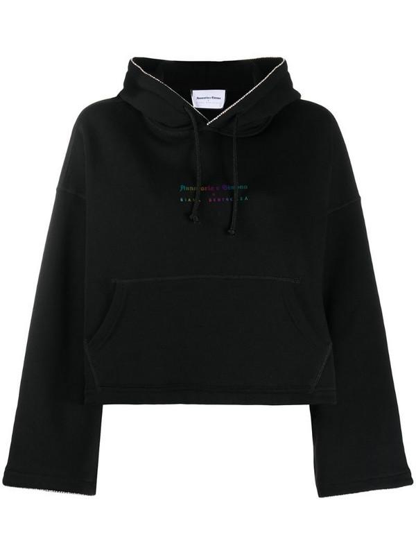 Giada Benincasa metallic-logo cropped hoodie in black