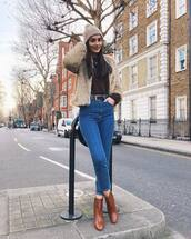 shoes,ankle boots,brown boots,skinny jeans,high waisted jeans,faux fur jacket,brown sweater,beanie,belt