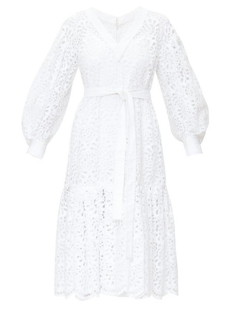 Carolina Herrera - Broderie Anglais Tiered Poplin Dress - Womens - White