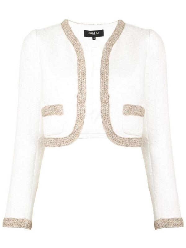 Paule Ka open front cropped jacket in white