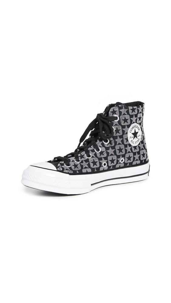 Converse Chuck 70 Flocked Canvas Sneakers in black / white