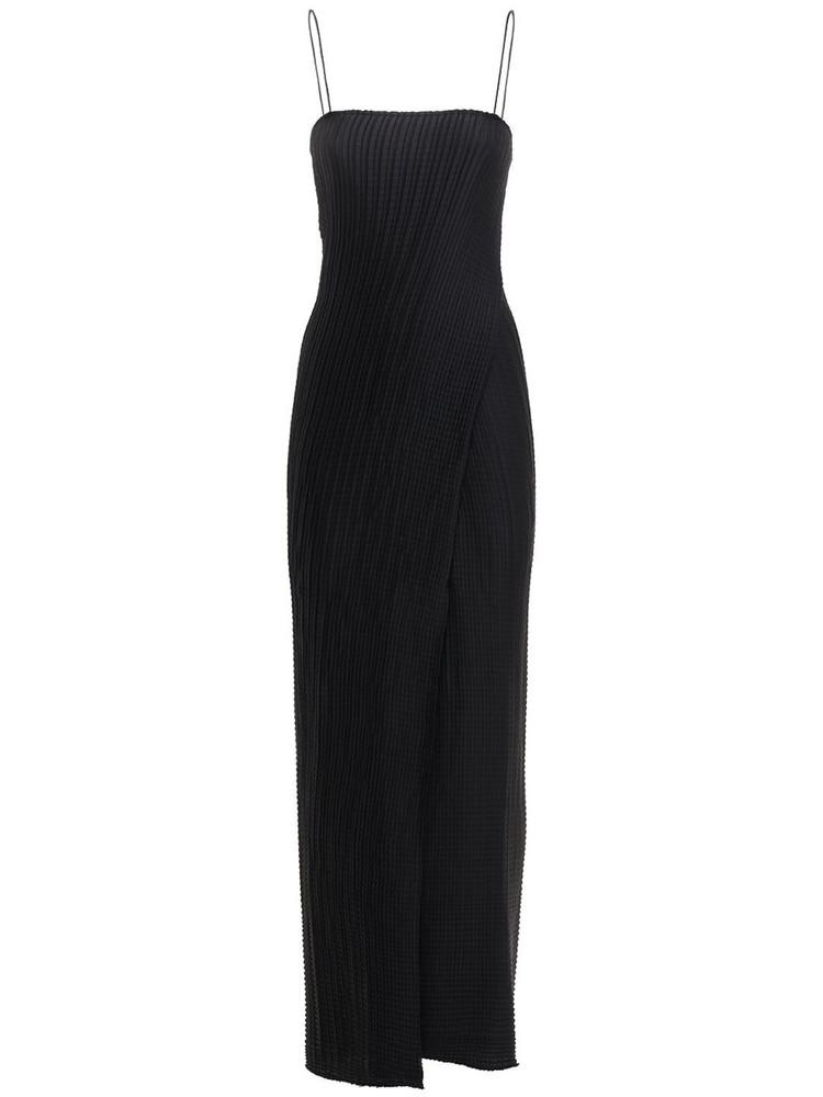 SANDRA MANSOUR Plissé Satin Midi Dress in black
