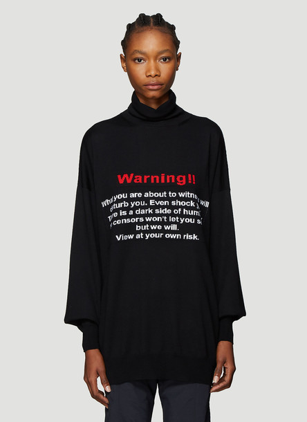 Vetements Intarsia Text Sweater in Black size XS