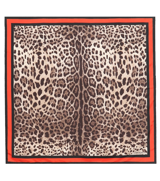 Dolce & Gabbana Leopard-print silk scarf in brown