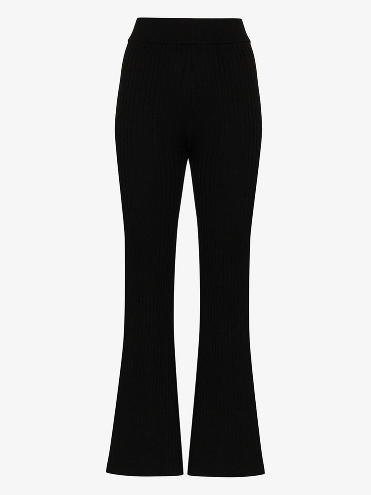 st. agni Enzo ribbed knit flared trousers in black