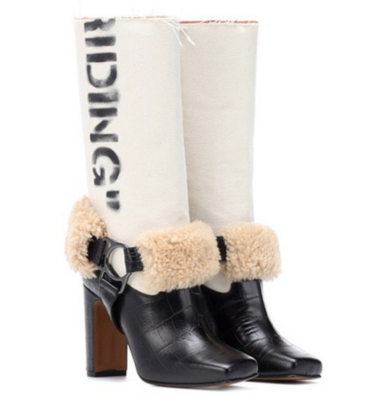 Off-White Riding leather boots in black