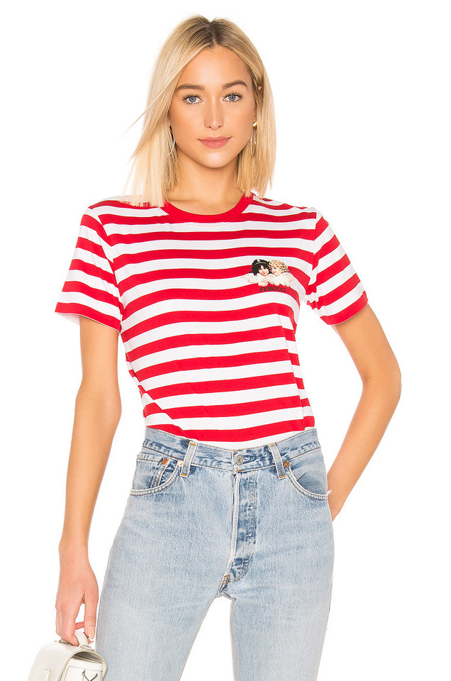 FIORUCCI Iconic Stripes Tee with Angels in red