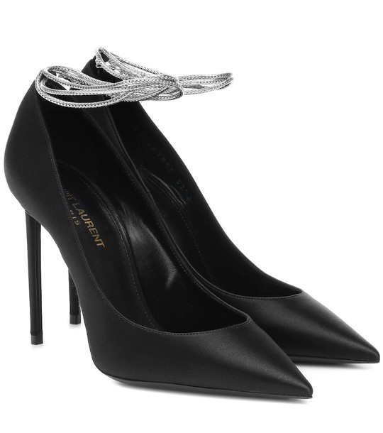Saint Laurent Zoe 105 satin pumps in black