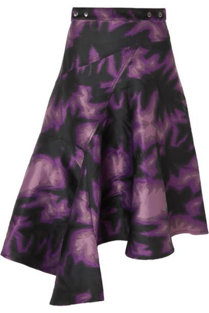Marques' Almeida - Asymmetric Printed Brocade Wrap Midi Skirt - Purple