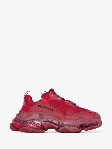 Balenciaga red triple s clear sole sneakers