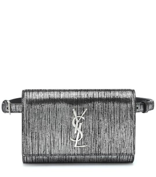 Saint Laurent Kate metallic suede belt bag in silver