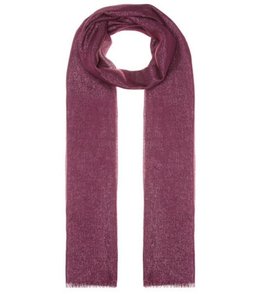 Brunello Cucinelli Cashmere and silk-blend scarf in pink