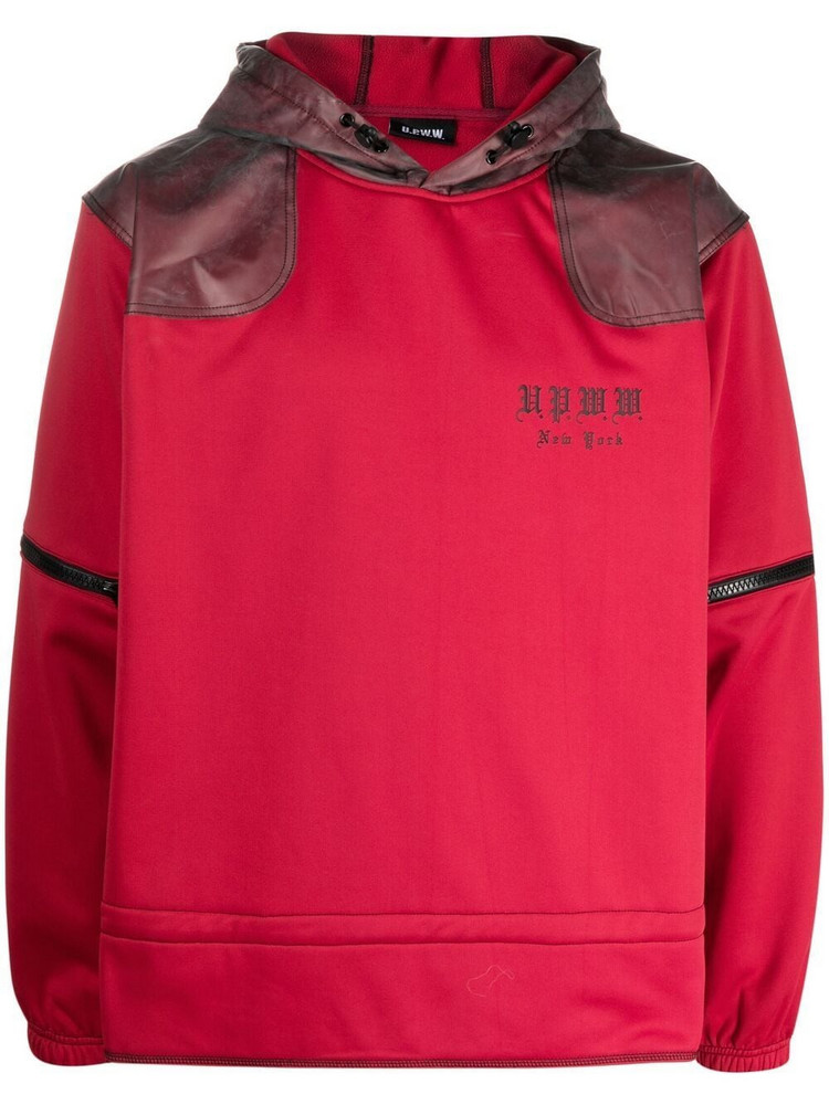 U.P.W.W. U.P.W.W. contrast-panel zip-off sleeves hoodie - Red