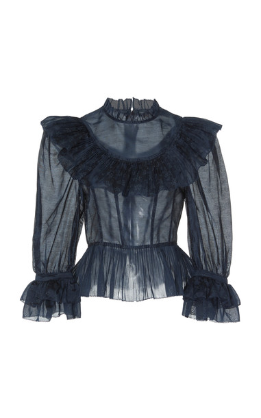 Ulla Johnson Edna cotton and silk blend top in blue