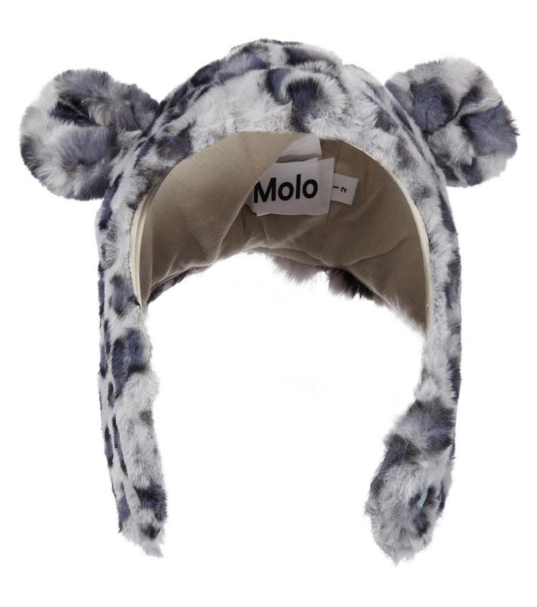 Molo Snowy leopard-print faux fur hat in grey