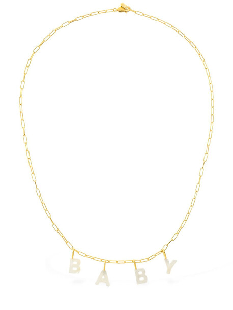 MARIA BLACK Baby Lettering Pearl Necklace in gold