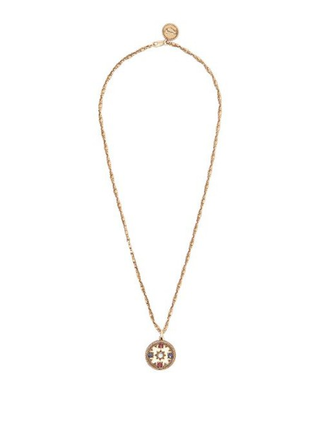 Jade Jagger - Pearl & Ruby 18kt Gold Star Medallion Necklace - Womens - Gold