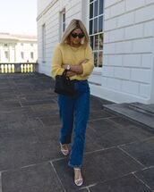 jeans,high waisted jeans,straight jeans,white sandals,yellow sweater,black bag,handbag