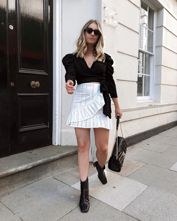 top wrap top ankle boots black boots white skirt mini skirt