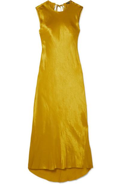 Ann Demeulemeester - Frayed Hammered-satin Maxi Dress - Gold