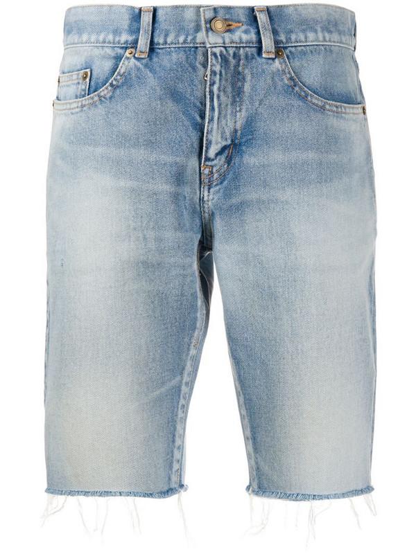 Saint Laurent frayed-edge denim shorts in blue