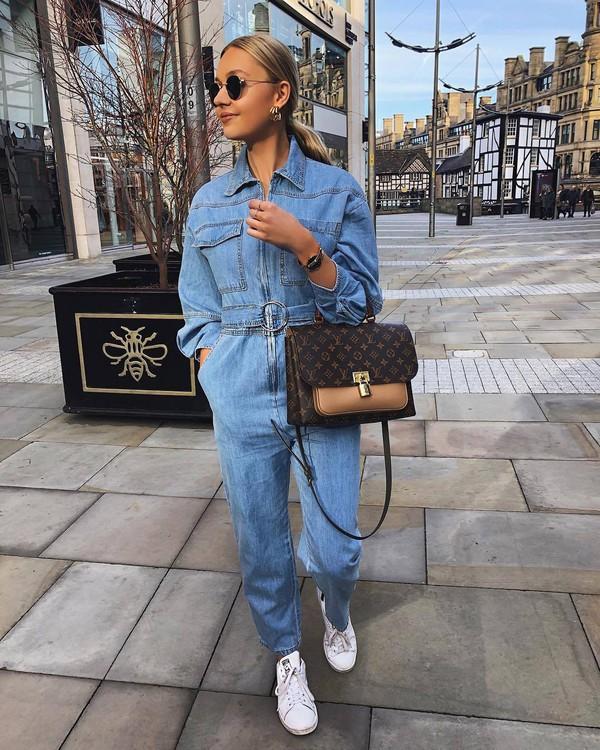 jumpsuit denim nastygal white sneakers trainers brown bag louis vuitton bag sunglasses casual streetwear