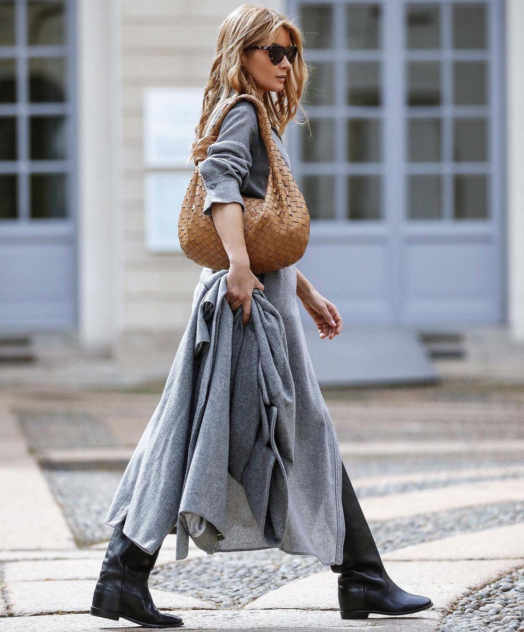 bag botega venetta shoulder bag black boots sweater midi skirt