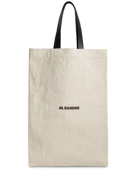 JIL SANDER Maxi Flat Canvas Tote Bag in beige