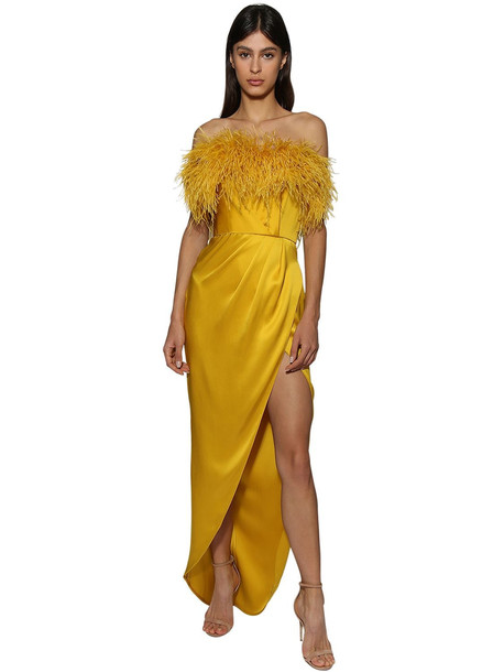 RALPH & RUSSO Strapless Silk Dress W/ Feathers in yellow