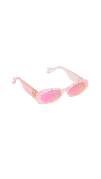Gucci Fluo Narrow Acetate Round Sunglasses in pink