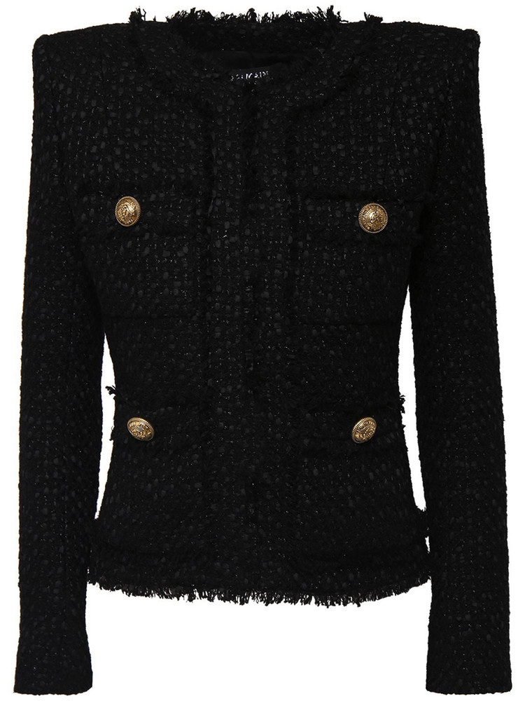 BALMAIN Wool Blend Tweed Jacket in black