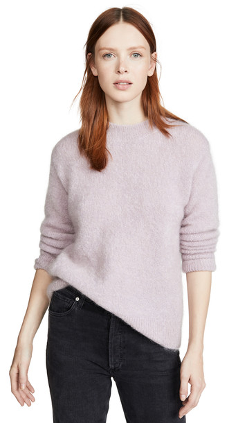 Vince Brushed Mohair Tunic Pullover in stone