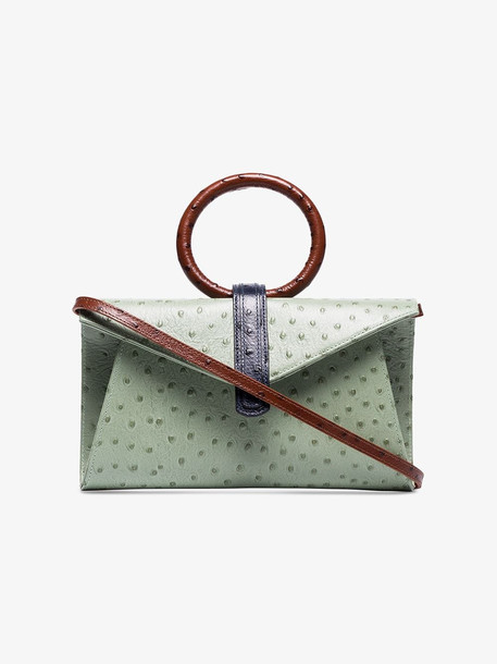 Complet Valery ostrich-effect crossbody bag in green