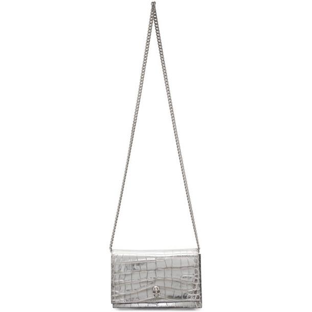 Alexander McQueen Silver Croc Mini Skull Bag