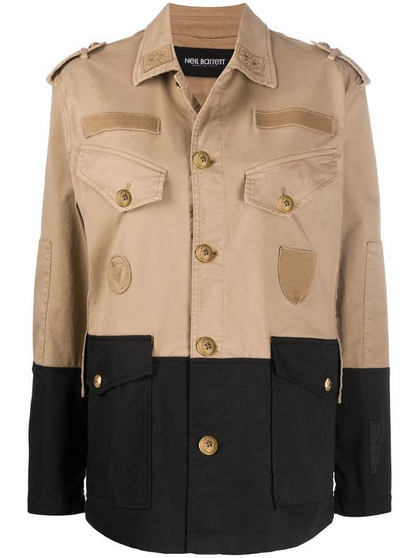 Neil Barrett pocket detail military jacket in neutrals