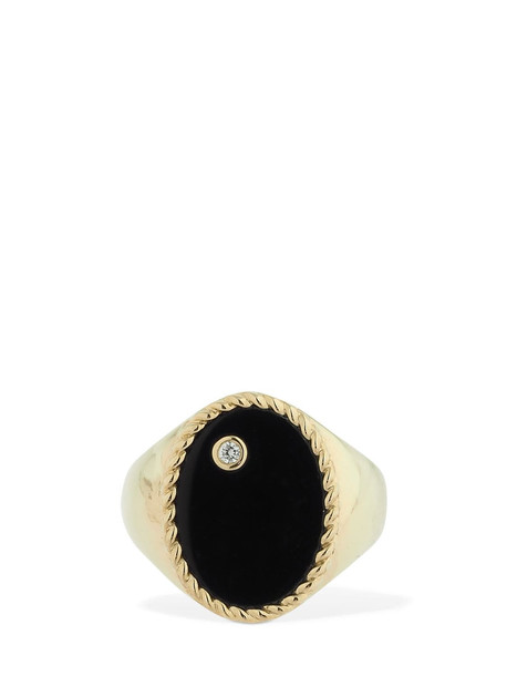 YVONNE LEON PARIS 9kt Chevaliere Ovale Onyx Ring in black / gold