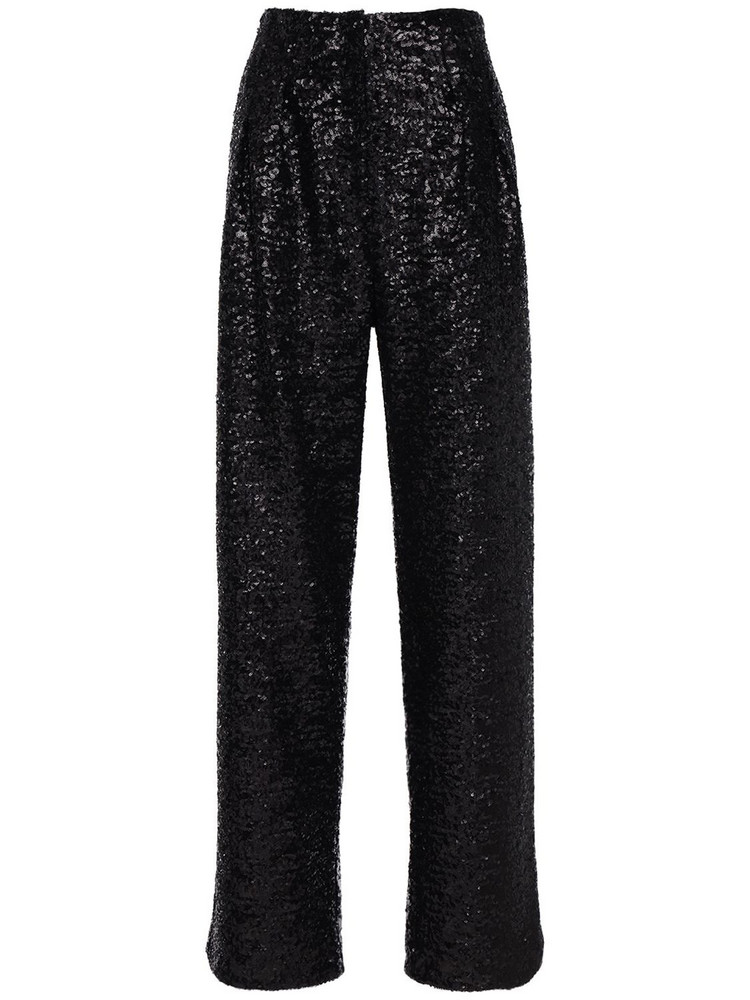 IN THE MOOD FOR LOVE Clyde Sequined Pants in black