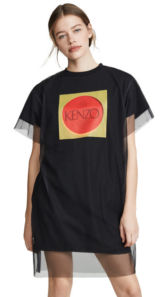 KENZO Double Layer T-Shirt Dress in black