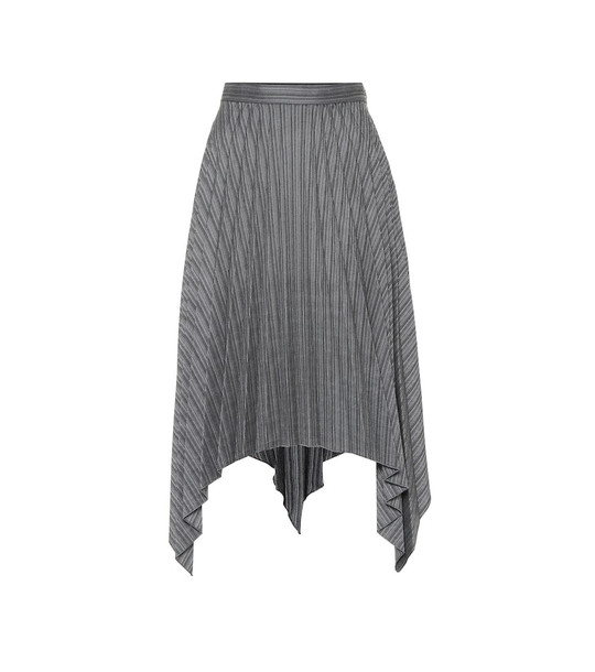 Acne Studios Pleated asymmetric wool-blend skirt in black