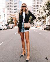 shorts,denim shorts,slingbacks,black blazer,crossbody bag,white t-shirt