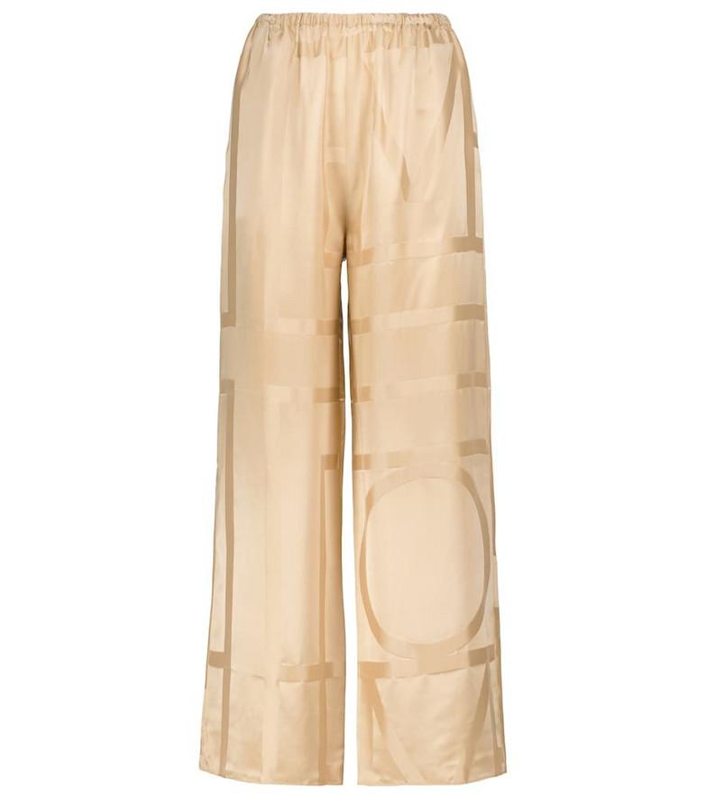 Toteme Monogram silk jacquard pants in beige