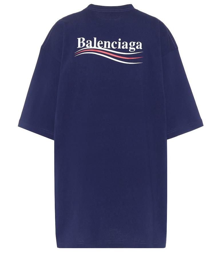 Balenciaga Logo cotton-jersey oversized T-shirt in blue