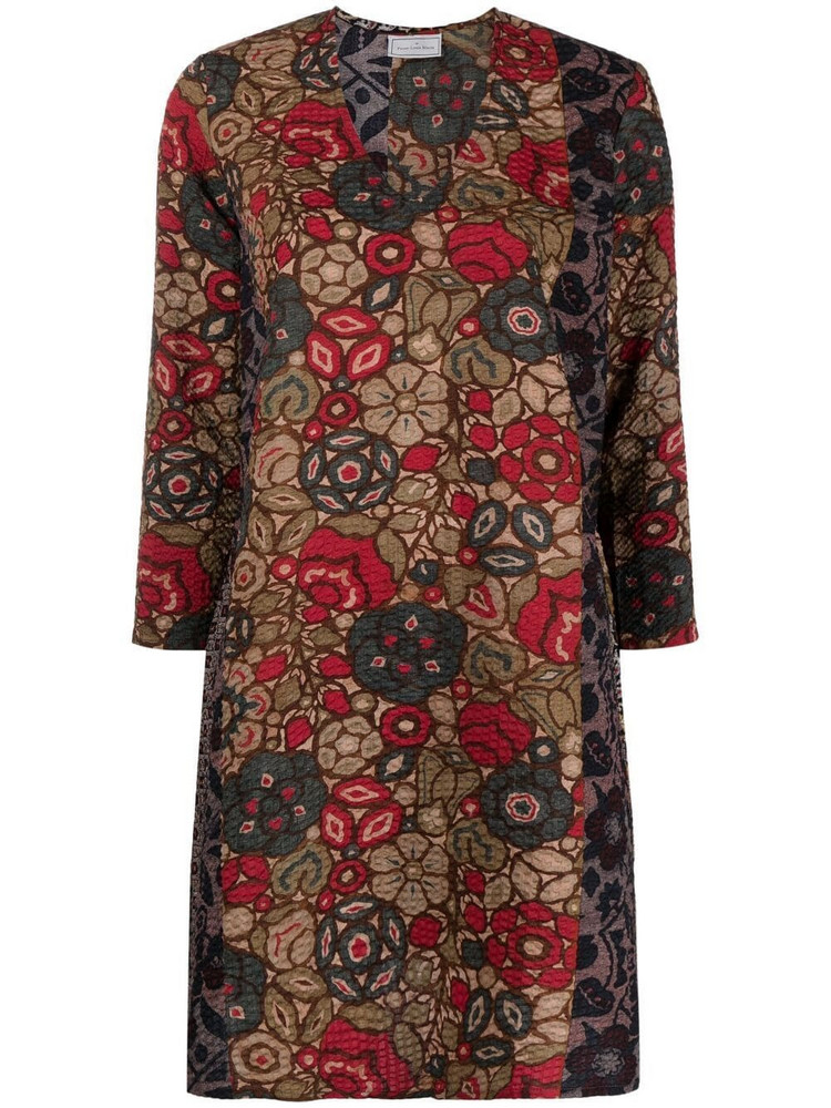 Pierre-Louis Mascia floral embroidered flared dress in red