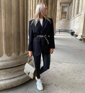 jacket,black blazer,oversized,black leather pants,sneakers,gucci bag,white t-shirt