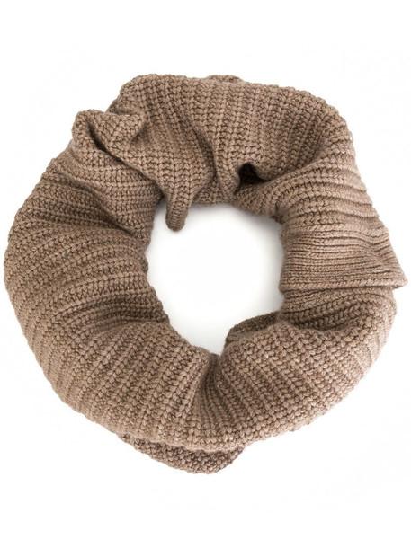 Goen.J knitted snood scarf in brown