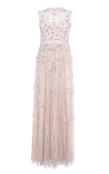 Needle & Thread Shimmer Ditsy Sleeveless Dress in pink
